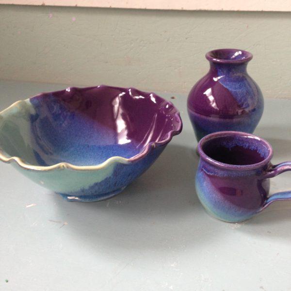 Wheel thrown Bowl, Vase, and Mug